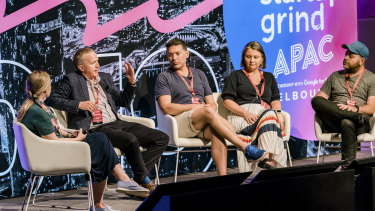 Panel members (left to right) Kate Kendall, James Posnett, Paul Naphtali Kylie Frazer and chair Matt Allen discuss funding alternatives at the Startup Grind conference in Melbourne.