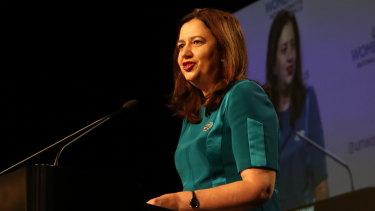 Queensland Premier Annastacia Palaszczuk speaking at an International Women's Day breakfast in Brisbane on Wednesday.