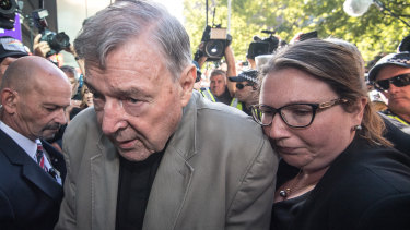 George Pell on his way into court on Wednesday.