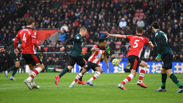 Matej Vydra of Burnley on his way to scoring his team's second goal at St Mary's Stadium.