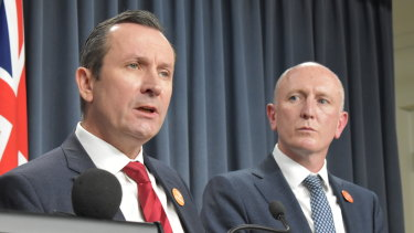 Premier Mark McGowan alongside Environment Minister Stephen Dawson.