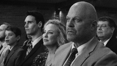 In 1985 with, from left, Cory Michael Smith as Adrian, Aidan Langfors as his younger brother Andrew and Michael Chiklis as their father Dale.