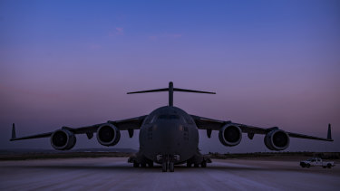 A C-17 Globemaster III, assigned to combat airlift operations for US and coalition forces in Iraq and Syria earlier this year.