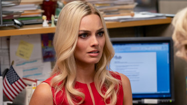 Margot Robbie as fictional character Kayla Pospisil in Bombshell.