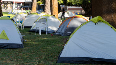 About 50 tents have been pitched in Pioneer Park in Fremantle for homeless people.