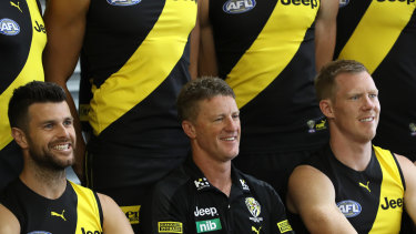 The Tigers in 2020: Trent Cotchin, coach Damien Hardwick and Jack Riewoldt.