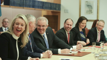 Scott Morrison, third from left, is part of the Sydney Liberal 'bubble'.