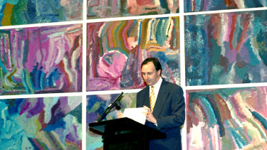 Prime Minister Paul Keating delivers The Arts Statement at the Australian National Gallery on 18 October 1994.