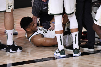 NBA MVP Giannis Antetokounmpo scored 19 points in just 11 minutes before he was forced from the court.