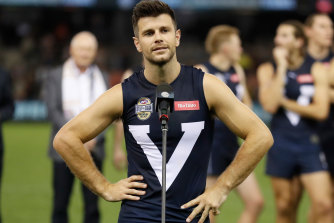 Trent Cotchin thanks the crowd after the bushfire relief match.