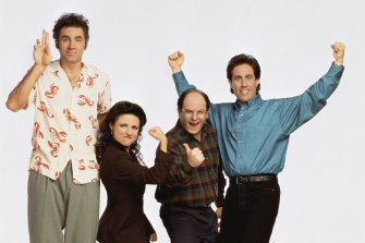 The Seinfeld gang (l-r): Kramer (Michael Richards), Elaine (Julia Louis-Dreyfus), George (Jason Alexander) and Jerry (Jerry Seinfeld).