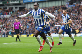 Danny Welbeck celebrates scoring for Brighton & Hove Albion against Leicester City.