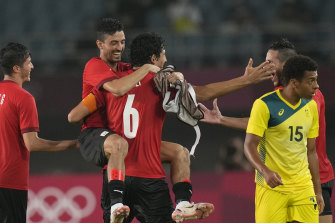 Egypt celebrate their 2-0 victory over the Olyroos in Sendai, Japan.