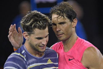 Nadal, right, congratulates Thiem after their quarter-final showdown in Melbourne in January.