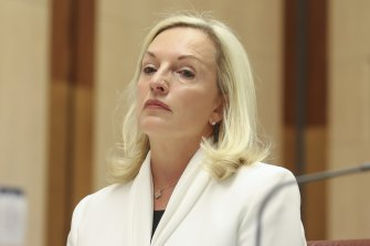 Christine Holgate takes her seat at the start of a hearing on Australia Post on Tuesday.