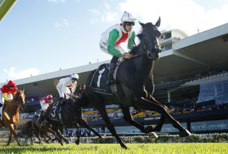 Aegon charges away with the Hobartville Stakes earlier in the autumn.