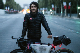 Australian Lachlan Morton after reaching Paris at the end of his epic Alt-Tour.