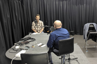 Recording an interview at The Age studios in Melbourne.