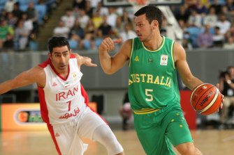 Jason Cadee playing for the Boomers in a qualifying match against Iran last November.