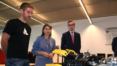 NSW Premier Gladys Berejiklian, Treasurer Dominic Perrottet (right) and Atlassian co-CEO Scott Farquhar visit UTS in Sydney.