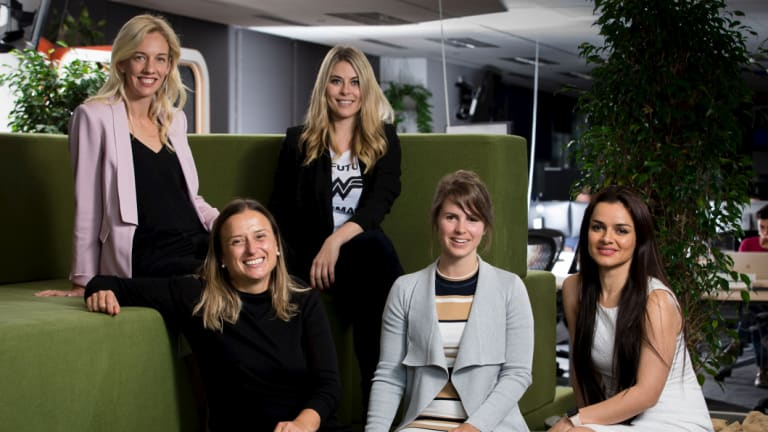 Kim Jackson (left) of Skip Capital with the founders of the female-led start-ups she has invested in: Katherine McConnell, Gemma Lloyd, Megan Elizabeth and Maryam Sadeghi.