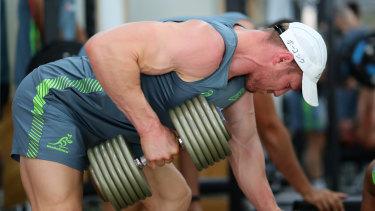 Fighting fit: David Pocock at the gym in Odawara.