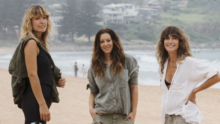 'A million miles away': Claire Tergoning, Liz Roberts and Jamie Blakey on Avalon Beach.