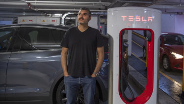 Industrial designer Rabah Maraby has sights on a Sydney to Gold Coast drive this weekend with just two recharge stops planned for his Tesla EV after plugging into Mirvac's recharge centre in Broadway.