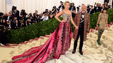 Blake Lively and Christian Louboutin at last year's Met Gala.