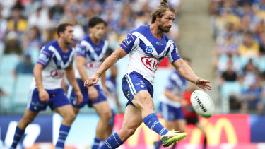 Back in blue and white: Kieran Foran is poised to return for the Bulldogs on Saturday.