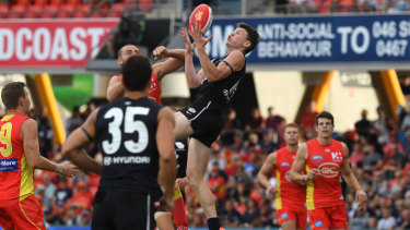 Rising star: Sam Walsh racked up 13 contested possessions, six clearances and six score involvements for the Blues.