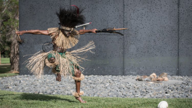 A dancer from the Sarpeye Dancers, Charlie Company, 51st Battalion, Far North Queensland Regiment.