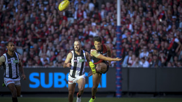 Essendon's Dylan Shiel in the Collingwood v Essendon match at the MCG on Anzac Day.