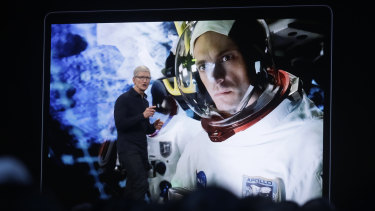 "Cook also previewed one of the original shows Apple is producing for its new video-streaming service, ""For All Mankind,"" set in an alternate history where the Soviets were first to land a man on the moon."