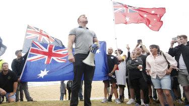 Blair Cottrell at Saturday's rally at St Kilda beach.