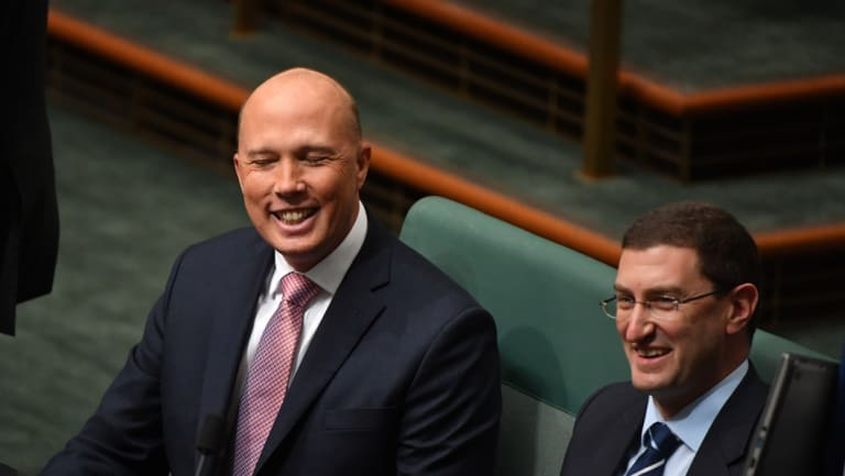 Former Minister for Home Affairs Peter Dutton sits on the cross bench.
