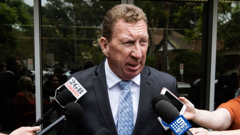 Cowboys director of football Peter Parr speaks outside Waverley Local Court.