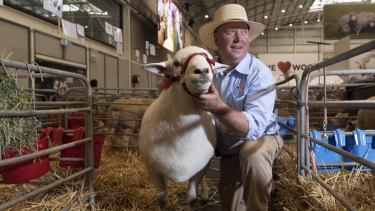 Graham Gilmore and his Australian white stud Rugur.