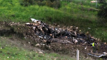 The wreckage of the jet near Harduf, northern Israel.