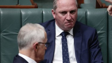 Deputy Prime Minister Barnaby Joyce and Prime Minister Malcolm Turnbull during question time last week.