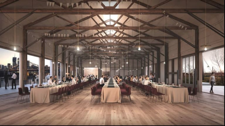 'What it will become' - New dining and exhibition space at Howard Smith Wharves.