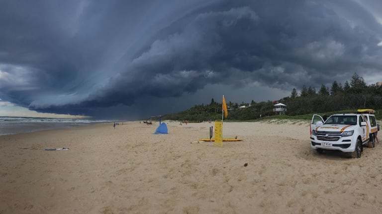 Storms above Sunshine Beach in Noosa on Tuesday afternoon.