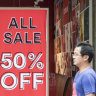 Shoppers stay at home in January, $A falls