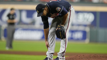 Charlie Morton leaves the game in the third inning. X-rays revealed he had a fracture.