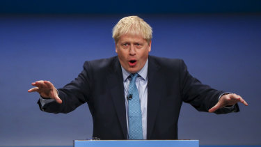 Boris Johnson delivers his keynote speech on the closing day of the annual Conservative Party conference.