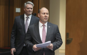 Finance Minister Mathias Cormann and Treasurer Josh Frydenberg at Parliament House on Friday.