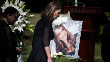 Aggie Di Mauro at the funeral for her daughter Celeste last week.