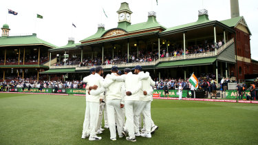 India in a huddle at the SCG during their last tour to Australia in 2019.