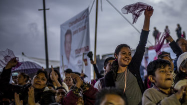 A young supporter of presidential candidate Andrés Manuel López Obrador during a campaign rally.