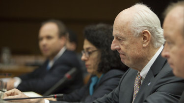 UN envoy Staffan de Mistura, second from right.